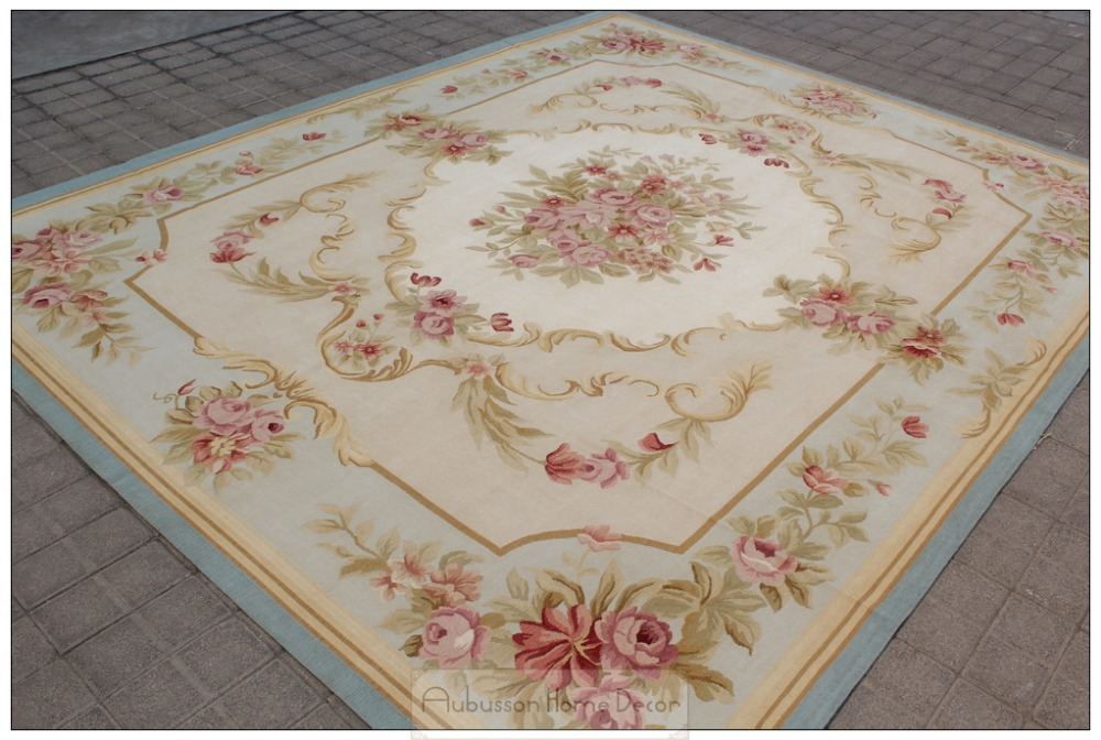 8 39 x10 39 antique reproduction french aubusson area rug blue for Tapis shabby chic