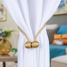 Magnetic Curtain Tieback Braided Spherical Chain Buckle Drapery Holdback Clip Holders Home Decor