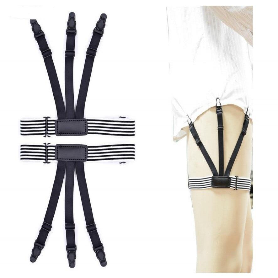 Sincere Punk Mens Black White Stripes Shirt Stays Garters Elastic Nylon Adjustable Shirt Leg Holders Crease-resistance Belt Suspenders Bright In Colour Apparel Accessories