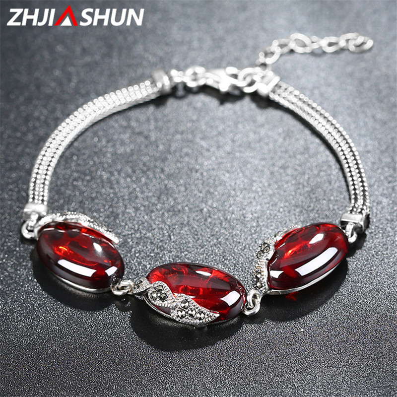 New Arrival 18-21cm 925 Sterling Silver Charm Bracelets Vintage Chalcedony/Garnet Bracelet for Women Female Fine Jewelry 925 sterling silver expandable bracelet for women vintage lotus charm flowers engraved bracelets