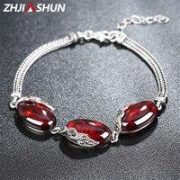 New Arrival 18 21cm 925 Sterling Silver Charm Bracelets Vintage Chalcedony/Garnet Bracelet for Women Female Fine Jewelry