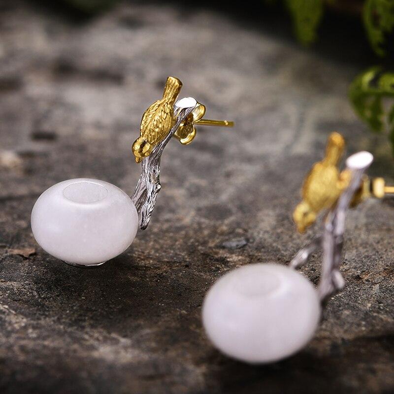 Lotus Fun 925 boucles d'oreilles en argent Sterling pour femmes pierre naturelle ronde verte Aventurine Animal oiseau fait main bijoux cadeaux - 3