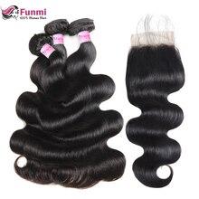 Funmi перуанские объемные волнистые пряди с закрытием 3 пряди с закрытием необработанные натуральные волосы пряди с закрытием Детские волосы