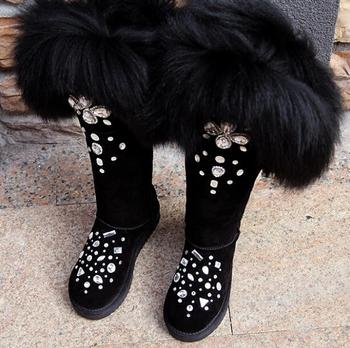 Girl's Winter Black Bling Rhinestone Embellished Big Fox Tail Fur Over Knee Snow Boots Women Botas Plush Inside Thigh High Boots