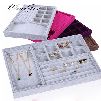 4pc Combined Soft Velvet Jewelry Set Storage Wooden Tray Travel Carrying Case Ring Earring Necklace Pendant Display Stand Holder