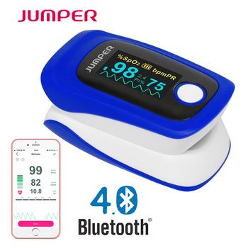 Opieki zdrowotnej Bluetooth największej bazy w świecie Oximetro de pulso de dedo OLED pulsoksymetr saturatora Pulsioximetro dla android ios telefon iPad tanie i dobre opinie Ciśnienie krwi 5*7*9 Palec JUMPER JPD-500F(blue color) Bluetooth pulse oximeter Color OELD screen FDA CE Blue with white