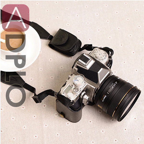 Hand-made Black Leather Half Camera Case Bag Cover Protector suit For Nikon Df