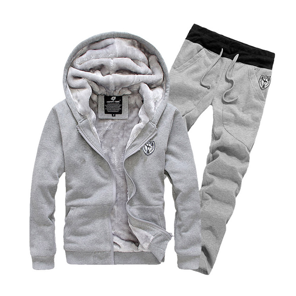 New Arrival New Men's Baseball Suit Sports Fashion High Quality Thickened Velvet Hoodie Coat + Sweatpants Trousers