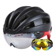 Road Mountain MTB Cycling Helmet With Glasses Goggles Bicycle Helmet Casco Ciclismo Ultralight Men Women Bike Helmet 8 Colors