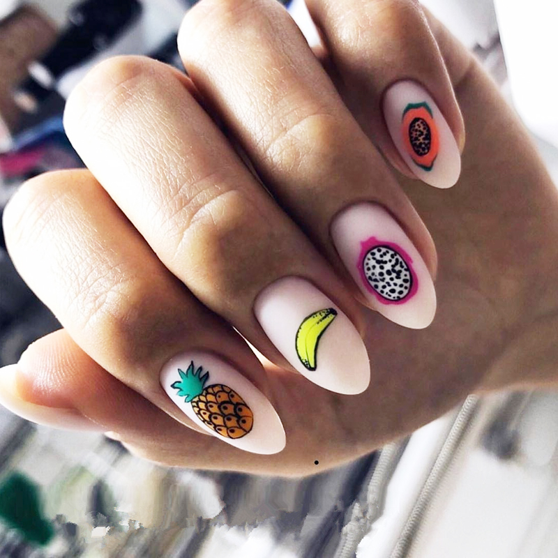 New arrived 3D Nail Stickers Decals 1 sheet fruit lemon Strawberry Summer Adhesive Stickers Nail Art Tattoo Decoration Z0167 in Stickers Decals from Beauty Health