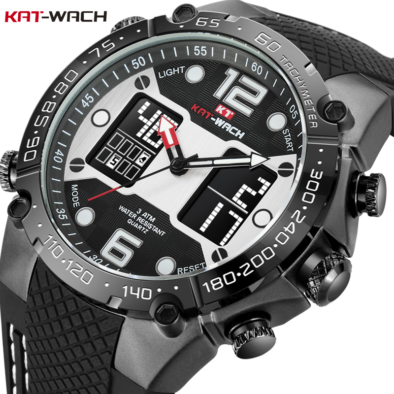 KAT-WACH Military Watches LED Digital Mens Watches Waterproof Shockproof Quartz Men Clock Silicone Big Dial Sports Wrist Watch цена