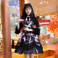 2018 Original Chinese Style Gothic Lolita Dress black Printing Long Sleeves Chinese Knot Ruffle Multilayer For Girl Wholesale