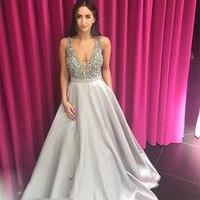 Bling Sliver Beading Top Prom Dresses Long 2019 High Quality A Line Low Back Sexy Arabic vestido de formatura Robe De Soire