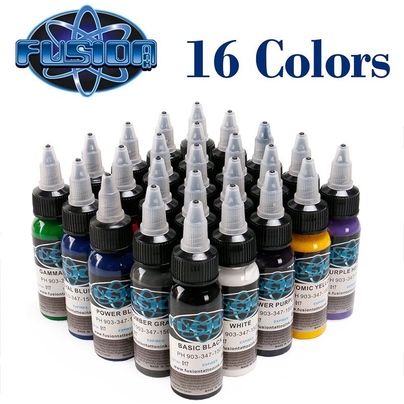 30 ML Bottle Tattoo Airbrush Ink 16 Colors Pigment Set For Body Paint Tattoo Color Pigment Tattoo Supply in Tattoo Inks from Beauty Health