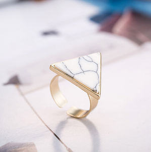 1 PC New Textured Ring New Fashion Hot Geometric Triangle Blue White Marble Stone Ring For Women Jewelry 20034
