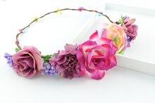 Камелия Розы Корона Фестиваль Оголовье Свадебные Цветочные Гирлянды Hairband женская Богемия Стиль Невесты Головной Убор