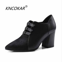 KNCOKAR 2018Spring new fashionable sexy elegant and elegant ladies leather and deep zipper women's shoes pointed hair high heels