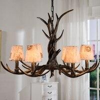 Đèn Chùm cổ Cá Tính Phong Cách Mỹ Vải Resin Antler Đèn Living Room Bar Phòng Khách Sạn đường kính 76 cm 6 lights