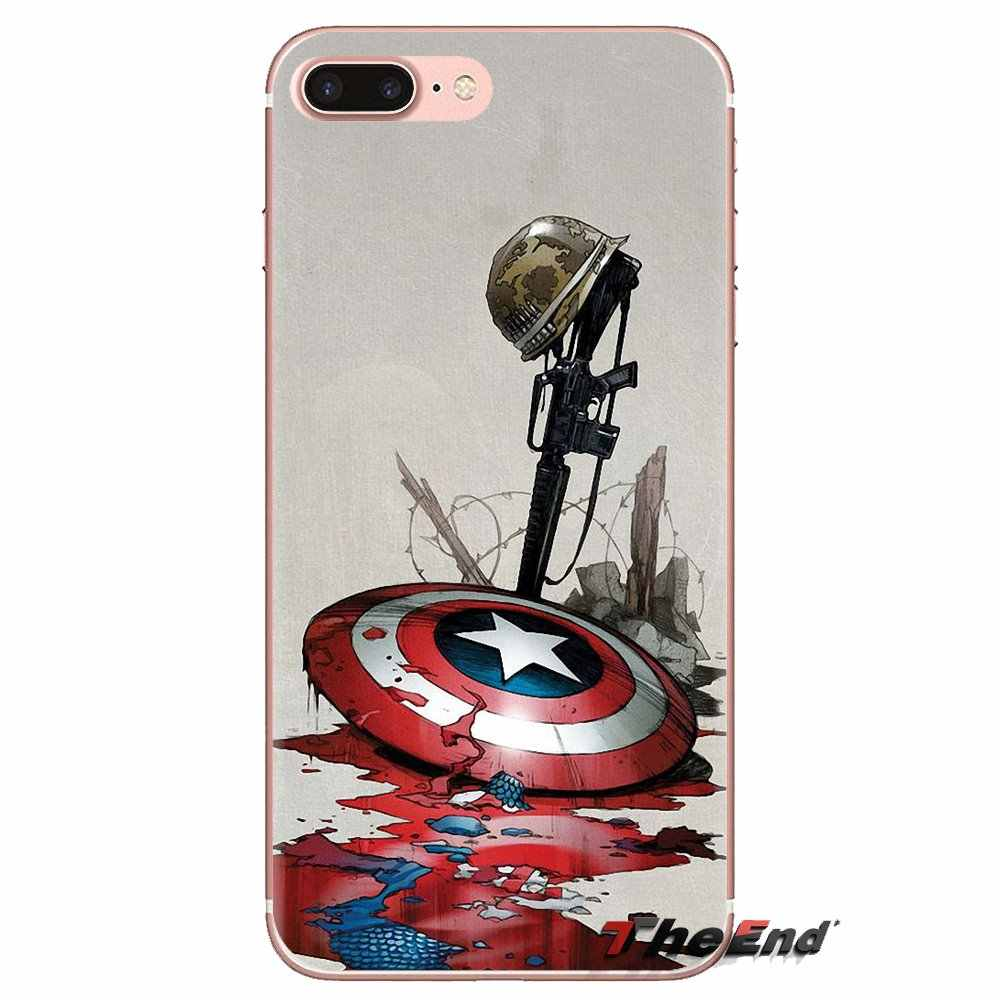 Для iPod Touch Apple iPhone 4 4S 5 5S SE 5C, 6, 6 S, 7, 8, X XR XS Plus MAX TPU Чехлы Крис Эванс Капитан Америка щит с героями комиксов Марвел,