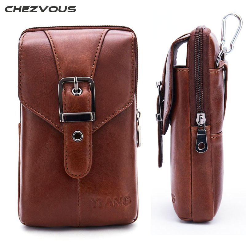 CHEZVOUS Genuine Leather Cell Phone Pouch Belt Clip Bag for iPhone 6 7 8 X Waist Bag Outdoor Phone Case for iPhone 7 6s 8 plus