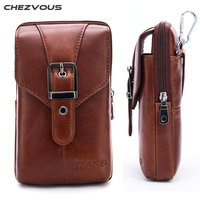 CHEZVOUS Genuine Leather Cell Phone Pouch Belt Clip Bag For IPhone 6 7 8 X Waist