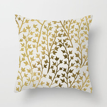 Fuwatacchi Gold Stamping Printed Cushion Cover Gold Leaves Pillow Cover For Home Decor Sofa Bedroom Decorative Pillowcases fuwatacchi floral cushion cover feather leaves gold pillow cover for decor sofa chair square decorative pillowcases