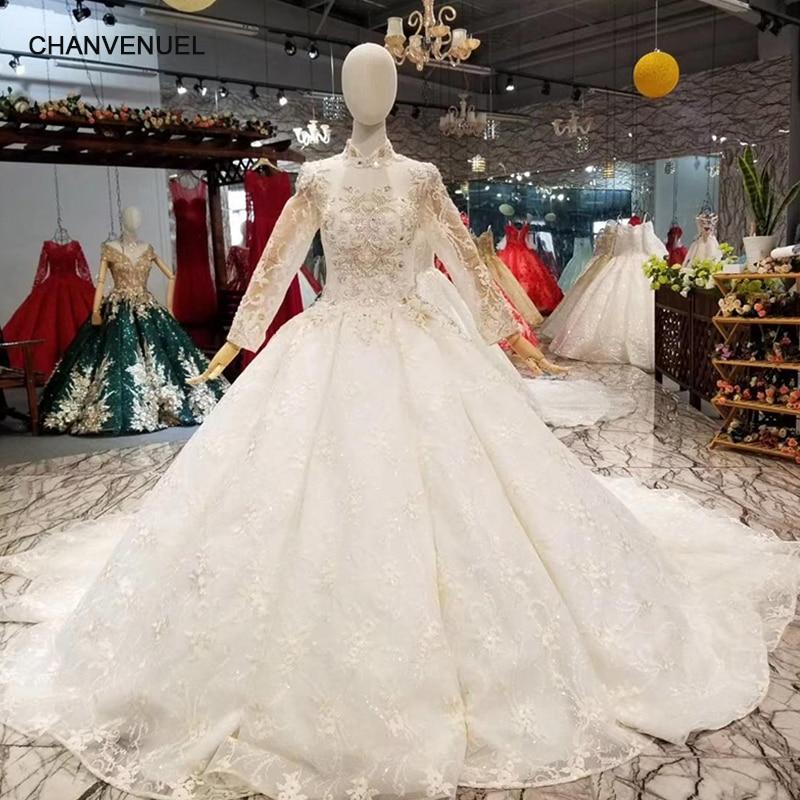 LS014651 Light Champagne High Neck Wedding Dress Long