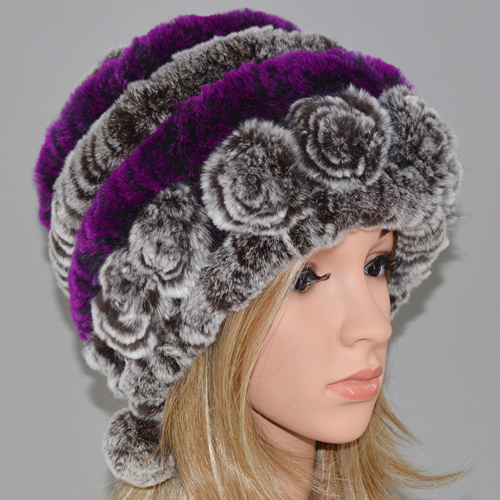 cd85664a24d Dropwow New Fashion Women Real Rex Rabbit Fur Hat Lady Winter ...