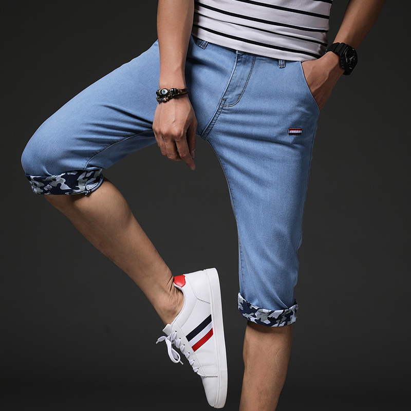 2018 new summer thin jeans mens blue stretch slim feet trend Korean fashion casual wild youth 7 points pants