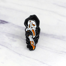 Gothic Black Robe Skeleton Brooch Horror Skull Blood Knife Magic Witch Enamel Pin Creative Punk Badge Shoes Denim Accessories(China)