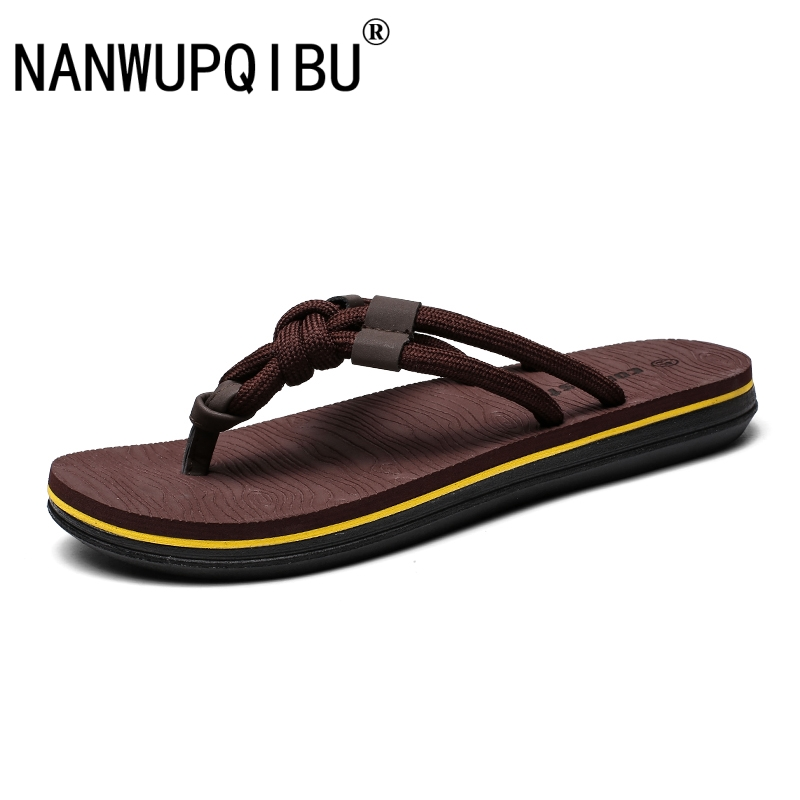 Slippers Flip Flops Men Fashion Summer Cool Men Shoes Outdoor Soft Casual Shoes Breathable Comfortable Weave Slippers Men