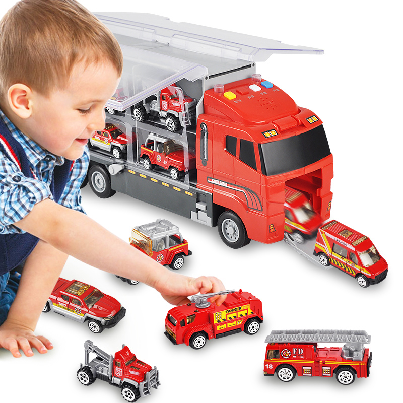 Container car, children's fire engine, toy car, engineering vehicle, set excavator, alloy car model.