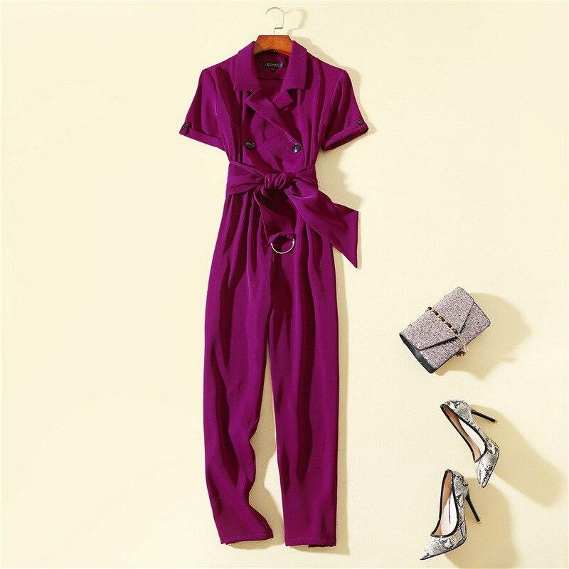 Mode femme européenne et américaine 2019 printemps nouveau style à manches courtes col de costume Slim ceinture violet combinaisons