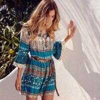 Wangcangli 2018 Summer New Style Bohemian Middle Dress Fashion Print Loose Waist Seven Flare Sleeve V