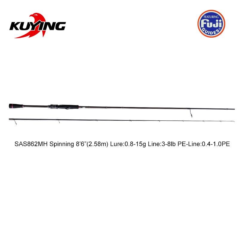 KUYING Nieuwe SUPERLITE 2.28m 7'6 2.58 m 8'6 Spinning Casting Vissen Lokken Rod Stick Cane Pole Super snelle Actie Bodem Water Vis - 5