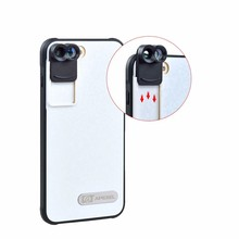 Big sale 2017 New Mobile Phone Dual Lens Fisheye Wide Angle Macro Telescope Camera Lens Kit with Back Case for IPhone 7 Plus IP7P