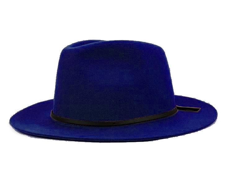 Модная шерсть Летняя женская мужская крученая натуральная Фетровая Шляпа Fedora Bush Sun Hat Trilby Gorra Toca Sombrero с кожаным ремешком - Цвет: Blue