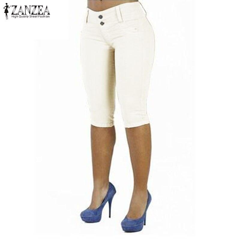 2018 Plus Size ZNAZEA Women Casual Solid Button   Capris   Summer Stretch Skinny Party Club Pencil   Pants   Pantalon Slim Fit Trousers