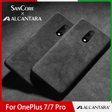 SanCore Phone Case for ONE PLUS 7/7 PRO Case LOGO Customed ALCANTARA Business TPU Phone Bag Luxury Cellphone Back Cover MAN