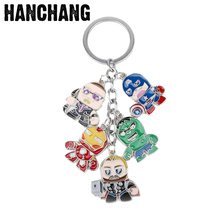 Marvel MovieThe Avengers Keychain Cartoon Figure Keyrings Captain America Shield Hulk Iron Man Keychain Car Keyring Chaveiros