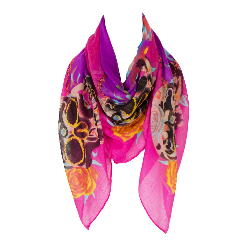 New Fashion Women Square Luxury Brand Amazing Design With Skull Flowers Printing Polyester Warm Sunscreen Winter 110*110cm