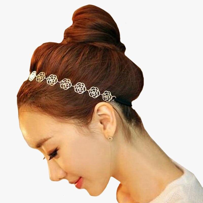 1 pcswomens модная металлическая цепочка Ювелирные изделия полая роза эластичный с цветочным принтом волос тесемки повязки на голову ювелирные украшения для волос аксессуары для парикмахерского салона