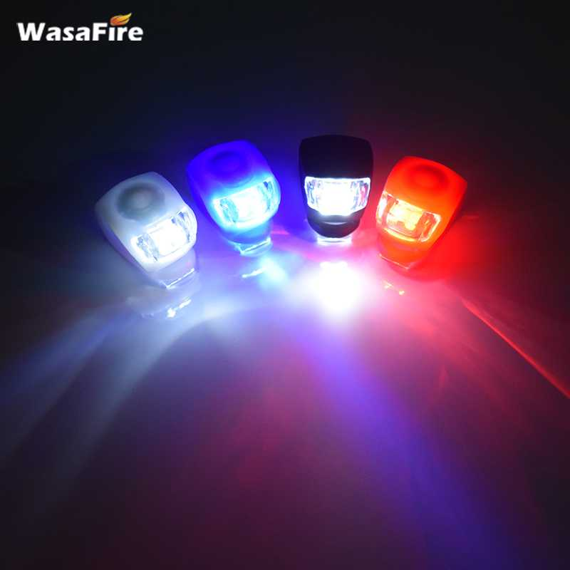 2 Piece Click-on Ultra Bright LED Bike Lights Front Rear Flexible Silicon Safe