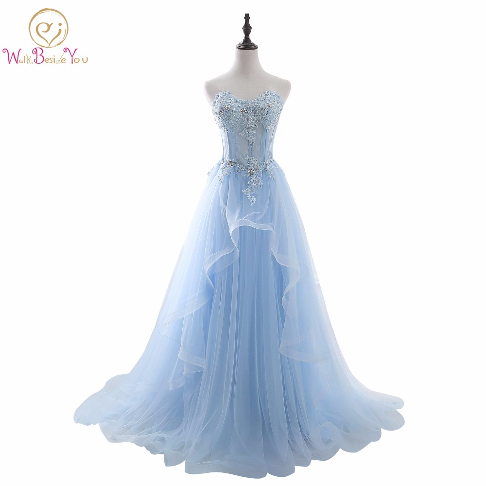 Elegant   Dresses   for   Prom   Blue Lace Appliques Crystal Beaded Sweetheart   Prom     Dresses   A-line Long Party Evening   Dress