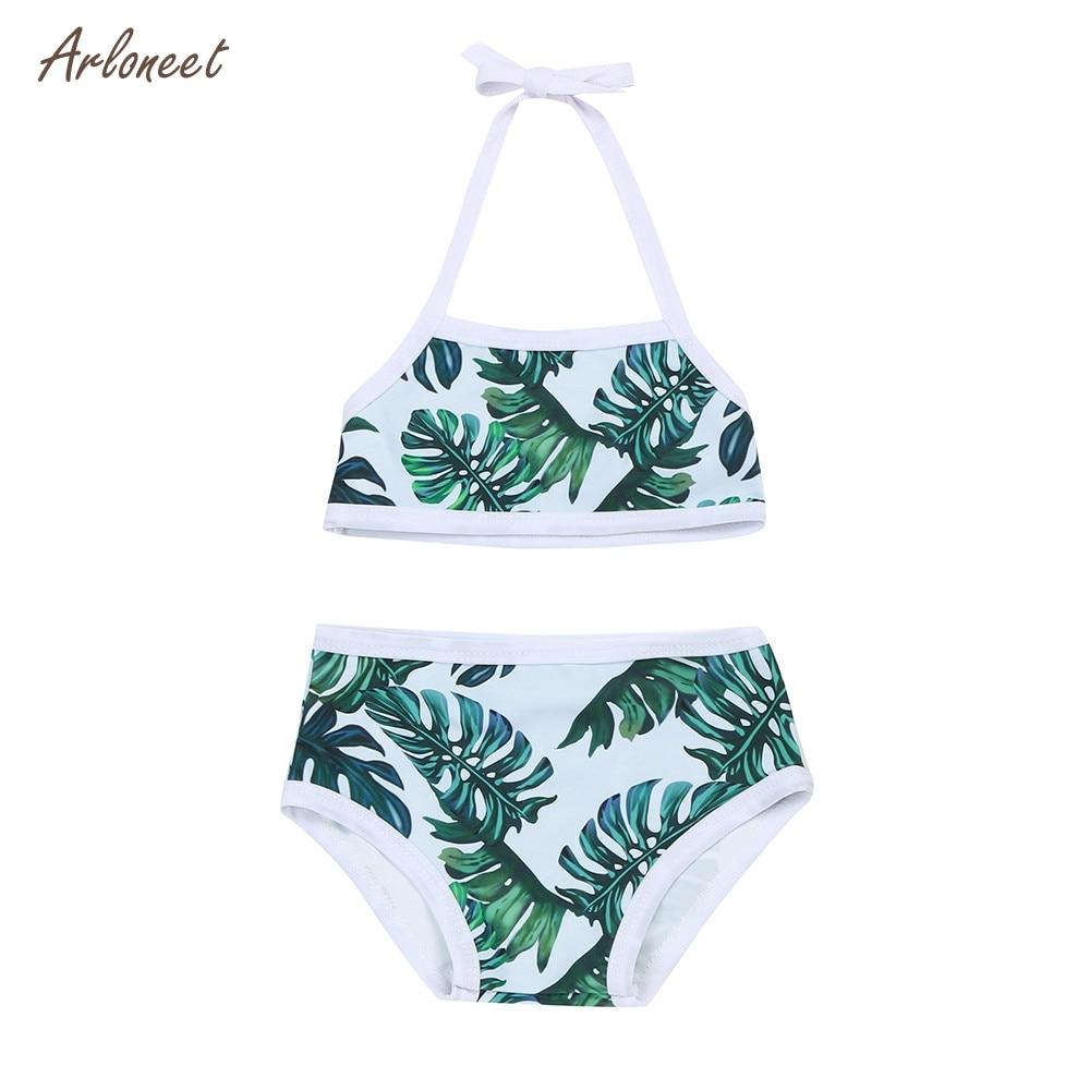 ARLONEET Infant Kids Baby Girls Leaves Print Straps Swimsuit Bathing Bikini Set Dropshipping _Apr25