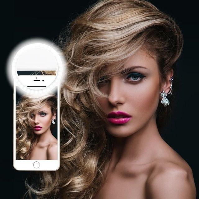 أدى ringlight المحمولة فلاش كاميرا ليد كليب على الهاتف Selfie مصباح مصمم على شكل حلقة الفيديو الضوئي ليلة تعزيز ضوء ل Selfie مصباح