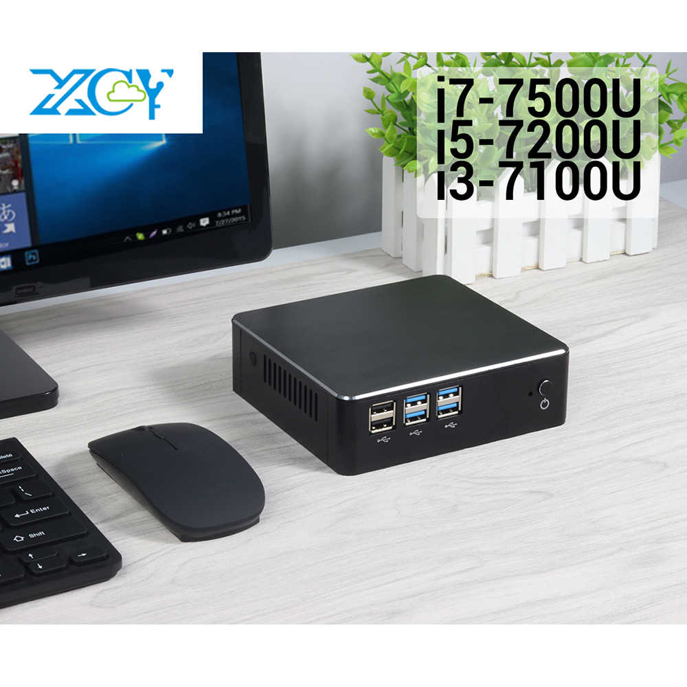 Xcy 7th Gen Intel Core I3 7100U I5 7200U I7 7500U Mini PC 4K HDMI NUC USB3.0 Wifi DDR3 ram Windows 10 Mikro Komputer Desktop