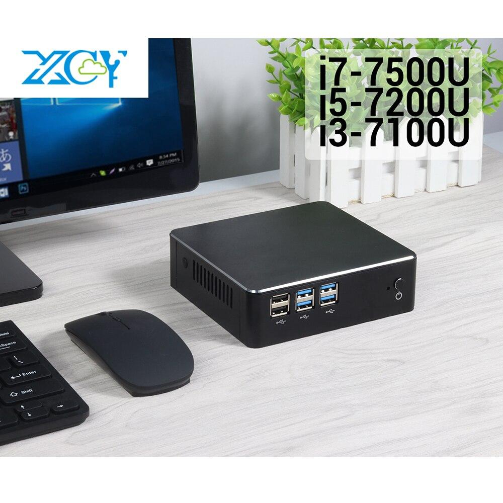 XCY 7500U 7200U 7100U 7th Gen Intel Core i3 i5 i7 Mini-pc NUC USB3.0 4K HDMI WiFi DDR3 janelas RAM 10 Micro Computador Desktop
