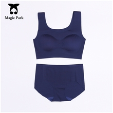 MagicPark New Seamless Bra Brief Sets Women Sexy Bra Brief Sets One-Piece Comfortable Sleep Padded Bra and Panty Set Lingerie