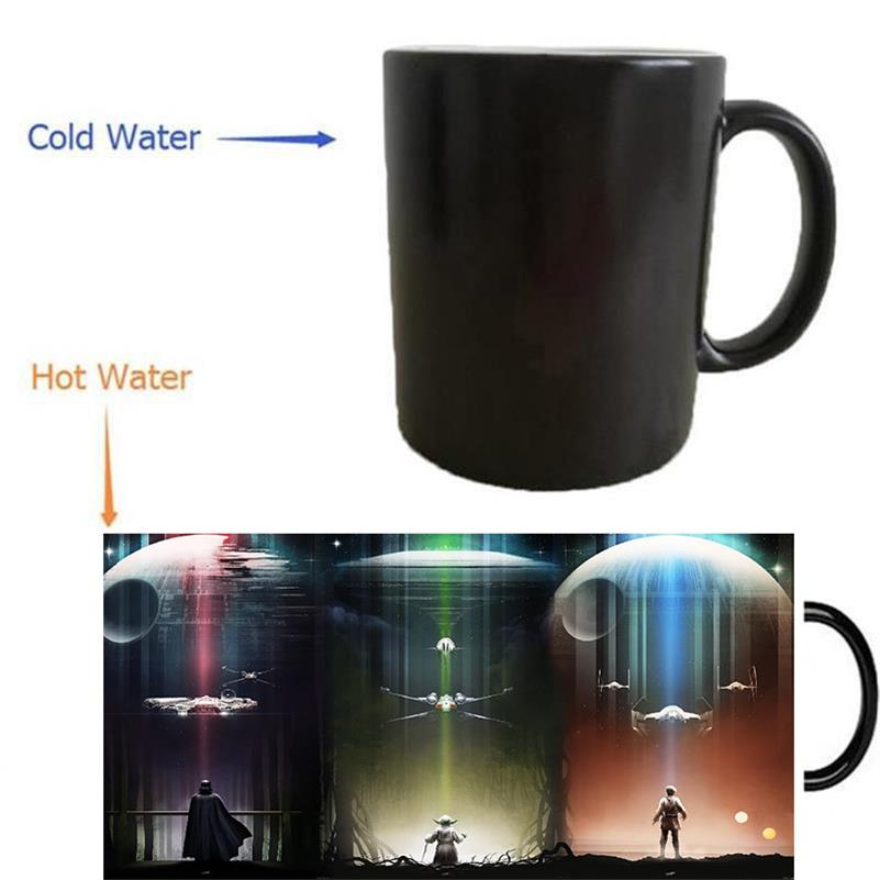 Star Wars, Master Yoda X-wing Han Solo Millennium Falcon Darth Vader mug heat reveal mugs magical Cup heat-reactived wine cups